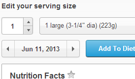 Edit your serving size.
